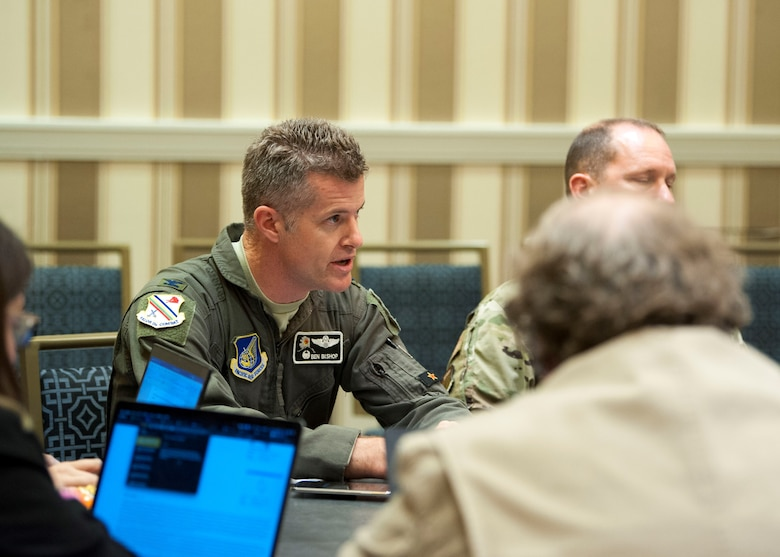 Col. Ben Bishop, 354th Fighter Wing commander at Eielson Air Force Base, Alaska, answers a question during a media roundtable at the Gaylord National Resort and Convention Center in National Harbor, Md., Sept. 17, 2019. Wing commanders from across Pacific Air Forces participated in the roundtable during the 2019 Air Force Association's Air Space and Cyber Conference. (U.S. Air Force photo by Staff Sgt. Mikaley Kline)