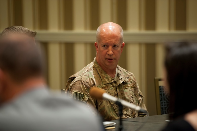 Brig. Gen. Joel Carey, 18th Wing commander at Kadena Air Base, Japan, addresses a question during a media roundtable at the Gaylord National Resort and Convention Center in National Harbor, Md., Sept. 17, 2019. Wing commanders from across Pacific Air Forces participated in the roundtable during the 2019 Air Force Association's Air Space and Cyber Conference. (U.S. Air Force photo by Staff Sgt. Mikaley Kline)
