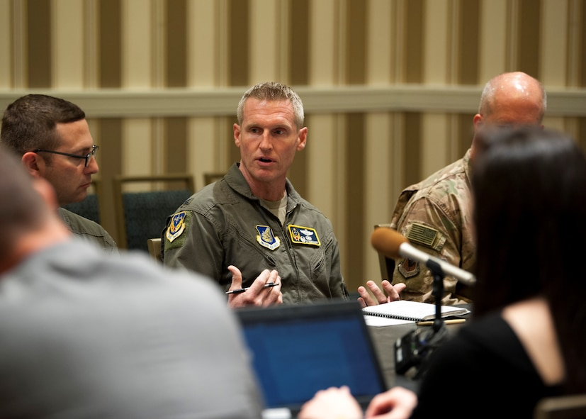 Col. Jason Rueschoff, 613th Air Operations Center commander at Joint Base Pearl Harbor-Hickam, Hawaii, addresses a question during a media roundtable at the Gaylord National Resort and Convention Center in National Harbor, Md., Sept. 17, 2019. Wing commanders from across Pacific Air Forces participated in the roundtable during the 2019 Air Force Association's Air Space and Cyber Conference. (U.S. Air Force photo by Staff Sgt. Mikaley Kline)