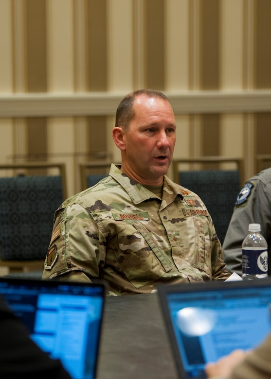 Brig. Gen. Gentry Boswell, 36th Wing commander at Andersen Air Force Base, Guam, addresses a question during a media roundtable at the Gaylord National Resort and Convention Center in National Harbor, Md., Sept. 17, 2019. Wing commanders from across Pacific Air Forces participated in the roundtable during the 2019 Air Force Association's Air Space and Cyber Conference. (U.S. Air Force photo by Staff Sgt. Mikaley Kline)