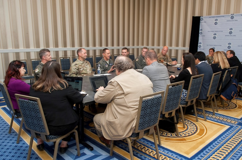 Col. Tad Clark, 8th Fighter Wing commander at Kunsan Air Base, Republic of Korea, addresses a question during a media roundtable at the Gaylord National Resort and Convention Center in National Harbor, Md., Sept. 17, 2019. Wing commanders from across Pacific Air Forces participated in the roundtable during the 2019 Air Force Association's Air Space and Cyber Conference. (U.S. Air Force photo by Staff Sgt. Mikaley Kline)