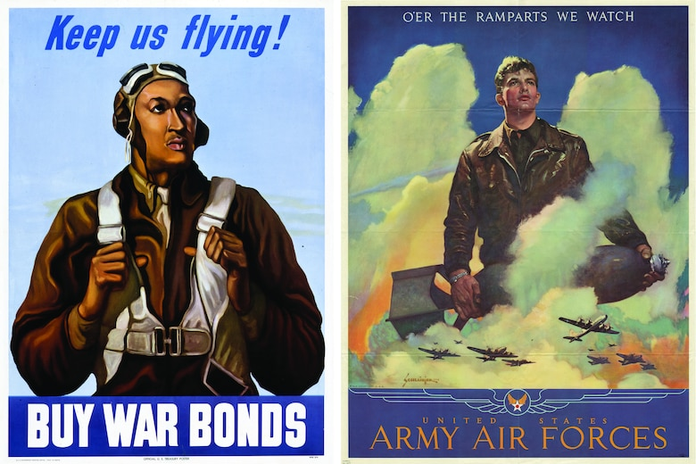 "Image of poster that states ""Kee us flying! Buy War Bonds"". And a poster that states ""O'er the Ramparts we watch, United States Army air Forces""."