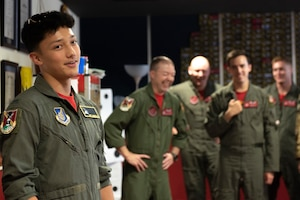 Joey DeGrella, Yokota High School senior and Junior Reserve Officer Training Corps. class commander, thanks all the 36th Airlift Squadron's personnel involved in the Pilot for a Day, Sept. 20, 2019, at Yokota Air Base, Japan.