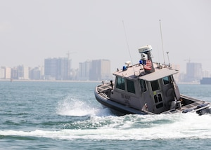 Sailors assigned to Task Force Shore Battle Space pursue a Bahraini Coast Guard security boat during exercise Neon Defender 19. Exercise Neon Defender 19 is a bilateral surface and maritime security exercise between the U.S. Navy and Bahrain Defense Force to enhance interoperability and war fighting readiness, fortify military- to- military relationships between the United States and the Kingdom of Bahrain, advance mutual operational capabilities and strengthen civil-to-military relationships.