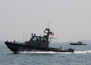 A U.S. Navy harbor security boat patrols the harbor of Naval Support Activity Bahrain during exercise Neon Defender 19. Exercise Neon Defender 19 is a bilateral surface and maritime security exercise between the U.S. Navy and Bahrain Defense Force to enhance interoperability and war fighting readiness, fortify military- to- military relationships between the United States and the Kingdom of Bahrain, advance mutual operational capabilities and strengthen civil-to-military relationships.