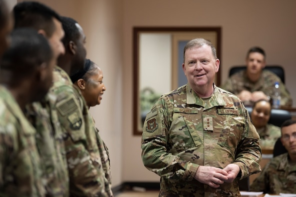 Lt.Gen. Richard Scobee speaks with deployed Reserve Citizen Airmen