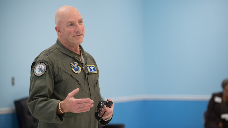 Maj. Gen. Vito Addabbo makes remarks during the AFGSC Integrated Resilience Training Symposium at Barksdale Air Force Base, Louisiana, Sept. 18, 2019.