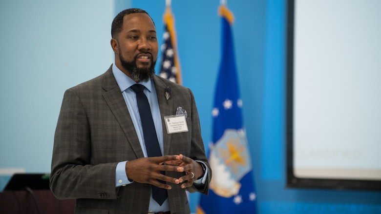 Rashuad Smith makes remarks during the AFGSC Integrated Resilience Training Symposium at Barksdale Air Force Base, Louisiana, Sept. 18, 2019.