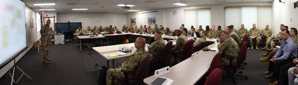 U.S. Army Reserve Col. Michael LaFontaine, G3, 85th U.S. Army Reserve Support Command, briefs opening remarks to command teams at the New Command Teams training brief during the 85th USARSC's headquarter's battle assembly weekend, September 21-22, 2019.
