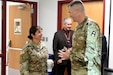 Brig. Gen. Kris A Belanger, Commanding General, 85th U.S. Army Support Command talks with Col. David Woodruff, 181st Infantry Brigade (MFTB) Commander, Fort McCoy, Wisconsin, during the New Brigade Command Teams training, September 21-22, 2019. Brigade command teams traveled to the 85th USARSC headquarters to learn about command relationships, medical readiness and training management within the multi-component partnership between the active component's First Army and the U.S. Army Reserve's 85th USARSC. The training also included breakout sessions with members of the G primary staffs. The purpose of the training was to explain some of the challenges facing the Army Reserve and to develop a common understanding between the active component and the Army Reserve.
