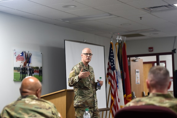 U.S. Army Reserve Capt. Matthew Surridge, Deputy Command Judge Advocate, 85th U.S. Army Reserve Support Command, briefs command teams at the New Command Teams training brief during the 85th USARSC's headquarter's battle assembly weekend, September 21-22, 2019.