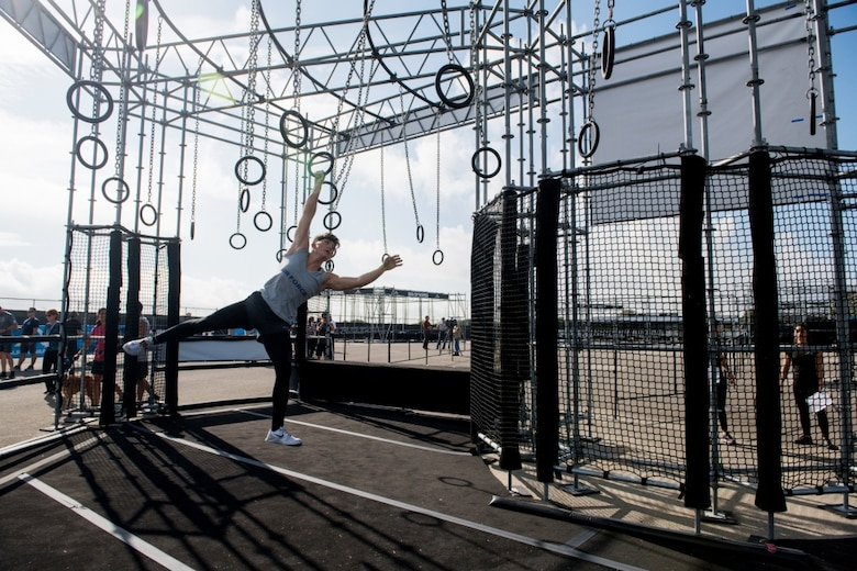 Second Lt. Michelle Strickland, 37th Flying Training Squadron student pilot, maneuvers across a ring obstacle course, Sept .14, 2019, at Retama Park in Selma, Texas. Representing Columbus Air Force Base was Second Lt. Michelle Strickland, 37th Flying Training Squadron student pilot, who placed first female with a time of 25 minutes, 5 seconds, and third place overall in the final battle against the sister services. (Courtesy photo)