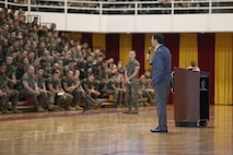 The Honorable Mark T. Esper, Secretary of Defense, addresses service members during a town hall meeting at the Goettge Memorial Field House on Marine Corps Base Camp Lejeune, North Carolina, Sept. 24, 2019. Esper stressed his goals of improving military readiness, strengthening military alliances, taking care of service members and bringing reform in the use of time, money and manpower. (U.S. Marine Corps photo by Lance Cpl. Isaiah Gomez)