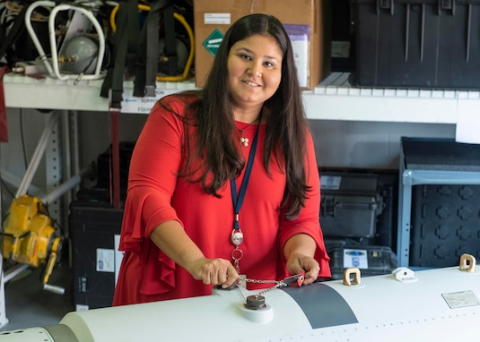 Rosa Eby, In-Service Engineer Agent lead at Naval Surface Warfare Center Panama City Division, tests the Airborne Laser Mine Detection System (ALMDS) algorithms. ALMDS detects, classifies, and localizes near-surface, moored sea mines, utilizing Streak Tube Imaging Light Detection and Ranging.