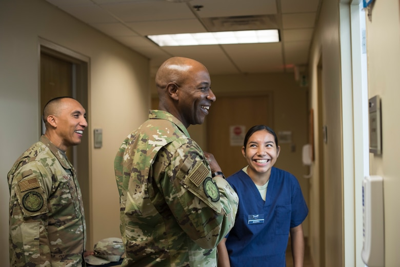 Chief Master Sergeant of the Air Force Kaleth O. Wright visits the 30th Medical Group Sept. 25, 2019 at Vandenberg Air Force Base, Calif. Wright toured different offices within the building, exploring what each section does to enable and support service members, their families and the 30th Space Wing mission. (U.S. Air Force photo by Airman 1st Class Aubree Milks)