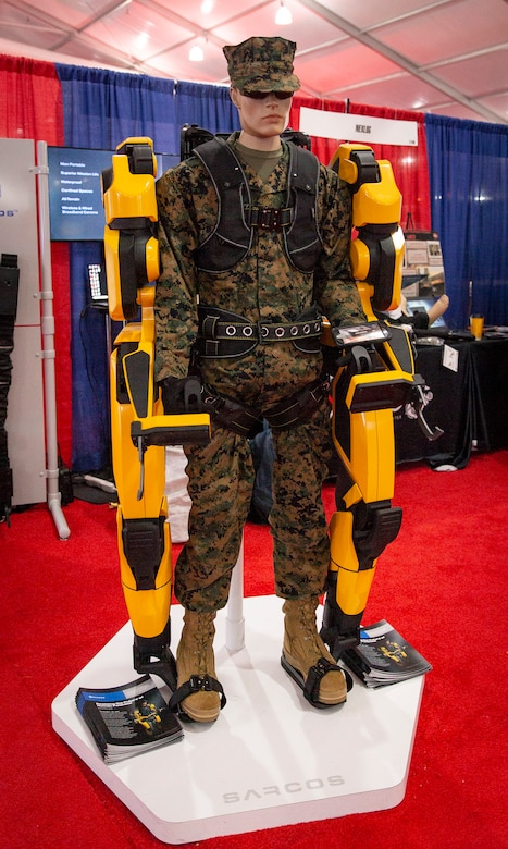 The Guardian XO robot, an exoskeleton suit to help reduce the risk of injuries by improving human strength and endurance, is on display at the 2019 Modern Day Marine Expo on Marine Corps Base Quantico, Va., Sept. 18, 2019. Modern Day Marine is an expo which allows Marines to see the new premier military equipment, systems, services and technology that can be purchased to support the military in the future.