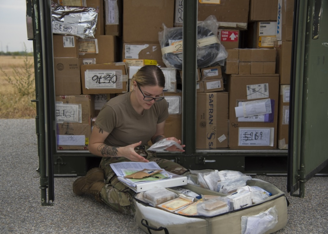U.S. Air Force Senior Airman Melissa Pickering, an aircraft parts store journeyman assigned to the 86th Logistics Readiness Squadron, conducts an inventory of consumable maintenance supplies at Plovdiv Airport in Plovdiv, Bulgaria, Sept. 24, 2019. Airmen from the 86th LRS ensure that supplies are tracked and transported correctly during Thracian Fall 2019. (U.S. Air Force photo by Staff Sgt. Kirsten Brandes)