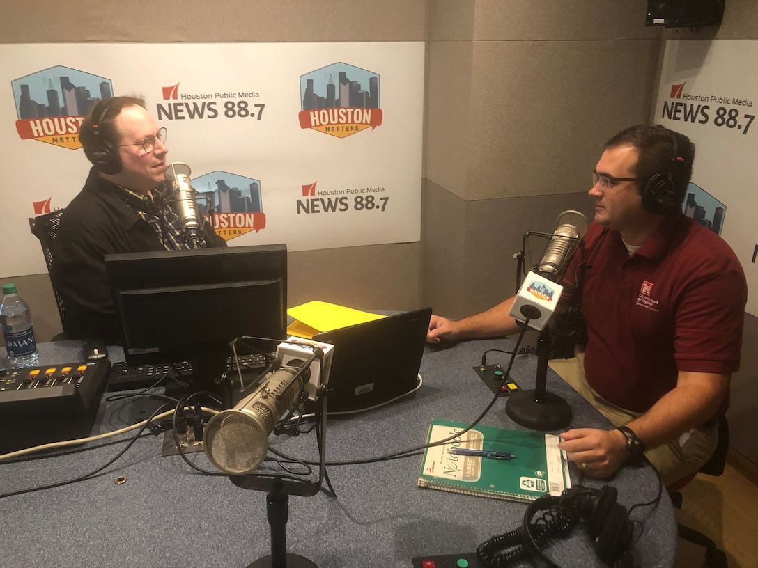 HOUSTON (September 25, 2019)- Andrew Weber, project manager at USACE Galveston District sits with Craig Cohen, executive producer at Houston Public Media, to discuss Addicks and Barker Dam Modification Project and Buffalo Bayou Tributaries and Resiliency Study updates on the Houston Matters live radio segment.
