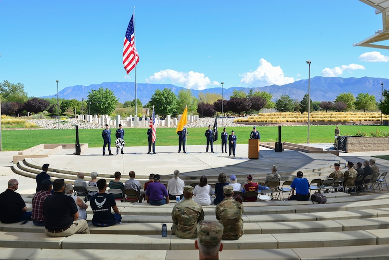 Members of the crowd listen to Maj. Gen. (Ret.) Melvyn Montano the POW/MIA ceremony distinguished guest speaker in Albuquerque, N.M., Sept. 20, 2019. Montano spoke about memory he recalled during his time serving. (U.S. Air Force photo by Senior Airman Enrique Barceló)
