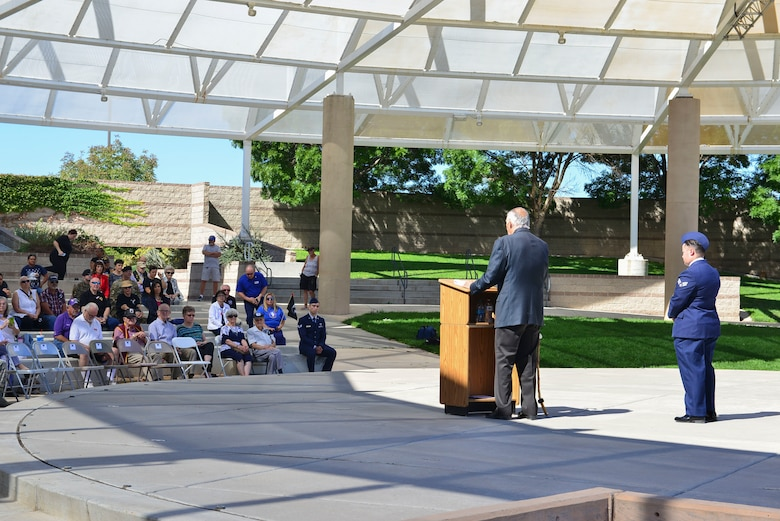 Maj. Gen. (Ret.) Melvyn Montano, guest speaker tells the crowd a story during the POW/MIA ceremony in Albuquerque, N.M., Sept. 20, 2019. Montano spoke about memory he recalled during his time serving. (U.S. Air Force photo by Senior Airman Enrique Barceló)