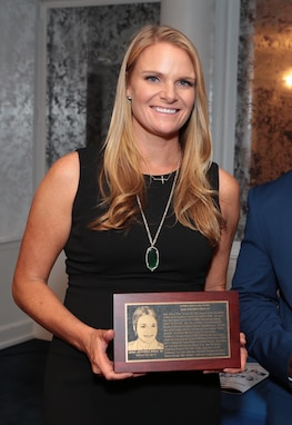 Naval Surface Warfare Center Panama City Division (NSWC PCD) Project Manager Jena Rhea was inducted into the United States Merchant Marine Academy (USMMA) Athletic Hall of Fame Sept. 20.