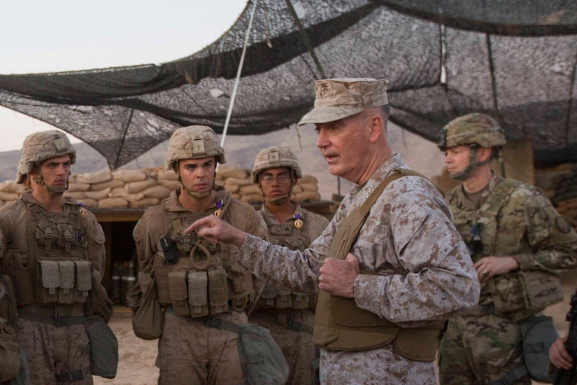 Chairman of the Joint Chiefs of Staff Marine Corps Gen. Joe Dunford speaks to Marines.