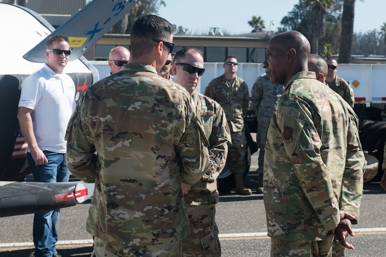Chief Master Sergeant of the Air Force Kaleth O. Wright speaks with Airmen from the 30th Operations Group Sept. 25, 2019, at Vandenberg Air Force Base, Calif. Wright visited Vandenberg AFB to meet with Airmen who actively support spacelift and launch operations on the Western Range. (U.S. Air Force photo by Michael Peterson)