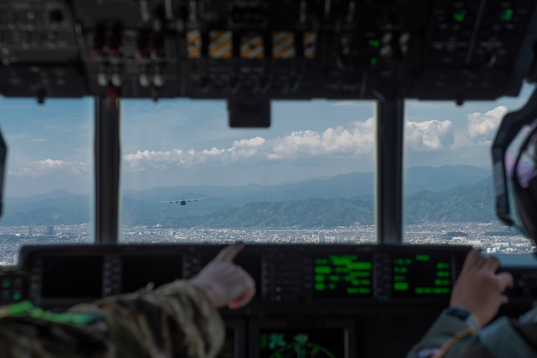 A C-130J Super Hercules assigned to the 36th Airlift Squadron flies over the Chubu region, Japan, Sept. 20, 2019.