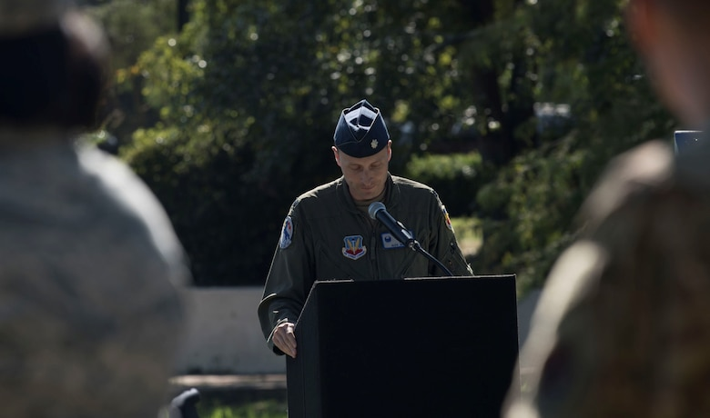 U.S. Air Force Lt. Col. Alexander Winn, 20th Operations Support Squadron commander, speaks at a prisoner of war/missing in action (POW/MIA) rememberance at Shaw Air Force Base, South Carolina, Sept. 19, 2019.