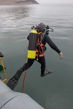 A Peruvian navy diver steps off a ship.