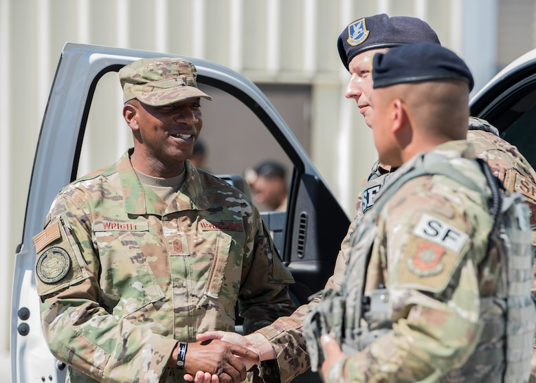 Chief Master Sergeant of the Air Force Kaleth O. Wright visits with Airmen Sept. 25, 2019, at Vandenberg Air Force Base, Calif. While at Vandenberg, Wright hosted an all call and visited multiple units across the installation including the 30th Medical Group, 30th Mission Support Group and the Combined Space Operations Center. (U.S. Air Force photo by Airmen 1st Class Hanah Abercrombie)