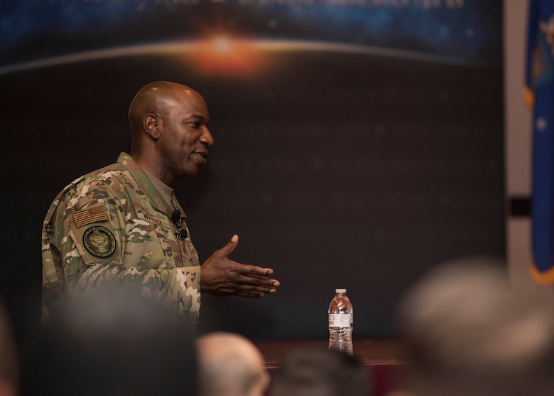 Chief Master Sergeant of the Air Force Kaleth O. Wright speaks during an all call Sept. 25, 2019, at Vandenberg Air Force Base, Calif. While at Vandenberg, Wright hosted an all call and visited multiple units across the installation including the 30th Medical Group, 30th Mission Support Group and the Combined Space Operations Center. (U.S. Air Force photo by Airmen 1st Class Hanah Abercrombie)