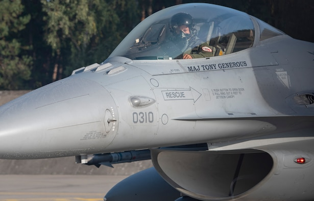 U.S. Air Force Capt. Garett Otterbein, 121st Fighter Squadron F-16C Fighting Falcon pilot, 113th Wing, District of Columbia, Air National Guard, prepares for takeoff at Lask Air Base, Poland, September 20, 2019. Otterbein and other Airmen from the 121st FS were conducting training focused on improving effectiveness and interoperability with their Polish allies. (U.S. Air Force photo by Airman 1st Class Kyle Cope)