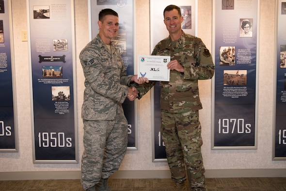 "Senior Airman Christopher Dunning, a 47th Operational Medical Readiness Squadron Mental Health flight chief, was chosen by wing leadership to be the ""XLer of the Week"" of Sept. 16, 2019 at Laughlin Air Force Base, Texas. (U.S. Air Force photo by Senior Airman Marco A. Gomez)"