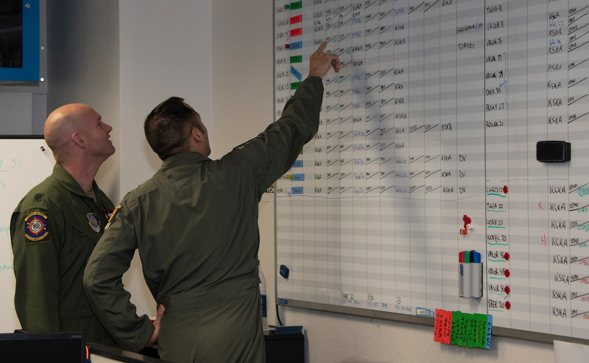 U.S. Air Force Lt. Col. John Berger, left, commander, and Maj. James Chongris, executive officer, 321st Air Mobility Operations Squadron, view current statistics at the Weapons Systems Suite in the Air Operations Center during exercise Mobility Guardian Sept. 25, 2019, at Travis Air Force Base, California. MG19 is Air Mobility Command's flagship exercise for large-scale, rapid global mobility operations. Forty-six U.S. aircraft joined aircraft from 29 international partners, along with more than 4,000 U.S. and international Air Force, Army, Navy and Marine Corps aviators. (U.S. Air Force photo by Heide Couch)
