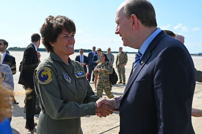 Brig. Gen. Laurie Farris, commander of the New Hampshire Air National Guard, greets Matthew Donovan, the acting secretary of the Air Force, on the flight line at Pease ANGB, Aug. 8, 2019. Dononan attended a welcoming event to commemorate the arrival of the new KC-46A air refueling tanker.  (U. S. Air National Guard photo by Staff Sgt. Charles Johnston)