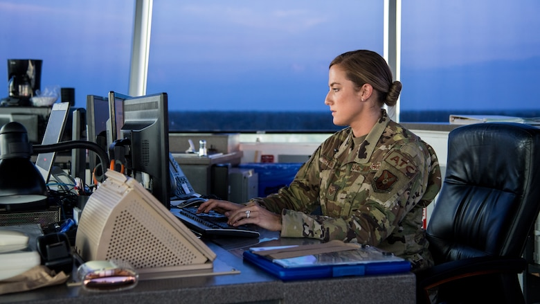 Staff Sgt. Jordan L. McFarland, 2nd Operations Support Squadron air traffic control craftsman, coordinates flight plans at Barksdale Air Force Base, Louisiana, August 22, 2019.
