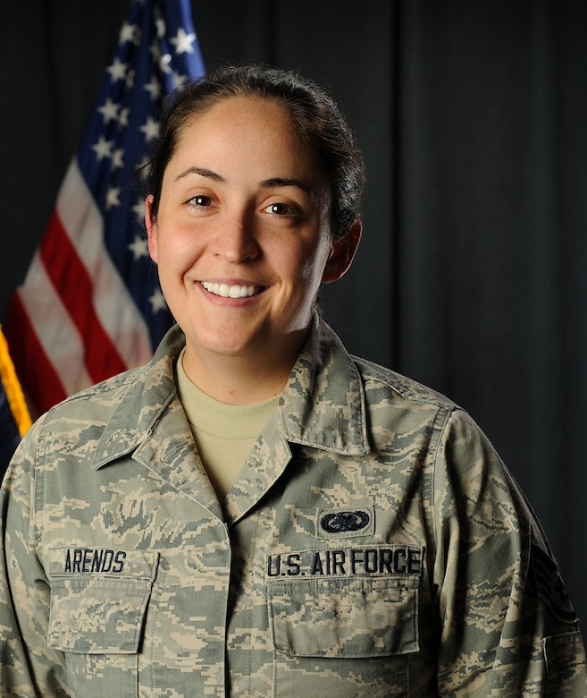 Staff Sgt. Kirsten E. Arends, a command post controller assigned to the 157th Air Refueling Wing, poses for a portrait on August 8, 2018 at Pease Air National Guard Base, N.H Arends traveled to El Salvador to serve as an iterim bilateral affairs representative as part of the N.H. National Guard's State Partnership Program with El Salvador. (Photo by Staff Sgt. Kayla White, 157th Air Refueling Wing Public Affairs)