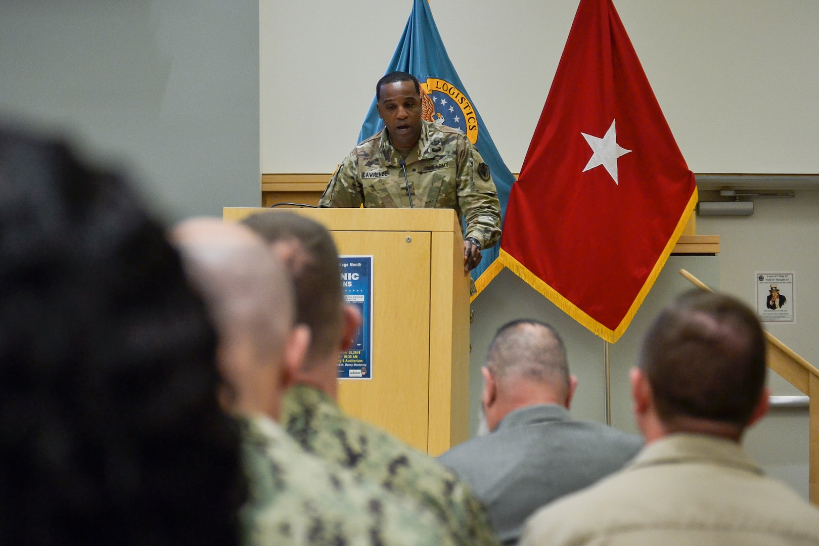 Army Brig. Gen. Gavin Lawrence, DLA Troop Support Commander, speaks at the annual Hispanic Heritage Month celebration Sept. 25, 2019 in Philadelphia.  Troop Support and Naval Supply Systems Command Weapon Systems Support employees celebrated the culture and traditions of Hispanic Americans during a National Hispanic Heritage Month program.