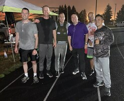 Members of the 225th Air Defense Squadron, lead by their commander Col. Brian Bergren (second from left), finished running about seven miles each during the POW/MIA Remembrance Run on Joint Base Lewis-McChord Sept. 19, 2019. (Courtesy photo)