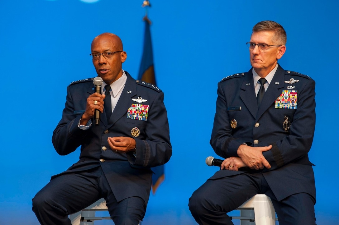 Gen. CQ Brown, Jr., left, Pacific Air Forces commander and Gen. Timothy Ray, Air Force Global Strike Command commander, participate in a Forward Power Projection in the 21st Century discussion panel during the Air Force Association's Air, Space, and Cyber conference at the Gaylord National Resort and Convention Center in National Harbor, Md., Sept. 18, 2019. Brown stressed the importance of multifunctional Airmen and not being afraid to break paradigms and have leaders that are empowered to take risk. (U.S. Air Force photo by Staff Sgt. Mikaley Kline)