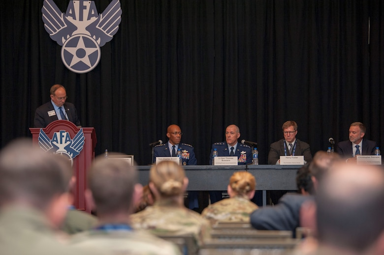 (Left to right) Lt. Gen. Dave Deptula (retired), Mitchell Institute for Aerospace Studies dean, Gen. CQ Brown, Jr., Pacific Air Forces commander, Lt. Gen. Thomas Bussiere, Alaskan North American Aerospace Defense Command Region commander, Harry Foster, Telemus Group vice president, and Christopher Pehrson, General Atomics Aeronautical Systems strategic development vice president, participate in a maritime strike panel during the Air Force Association's Air, Space, and Cyber conference at the Gaylord National Resort and Convention Center in National Harbor, Md., Sept. 17, 2019. The Maritime Strike panel was one of 28 panels and speaker sessions covering topics in air, space, and cyber at this year's AFA event. (U.S. Air Force photo by Staff Sgt. Mikaley Kline)