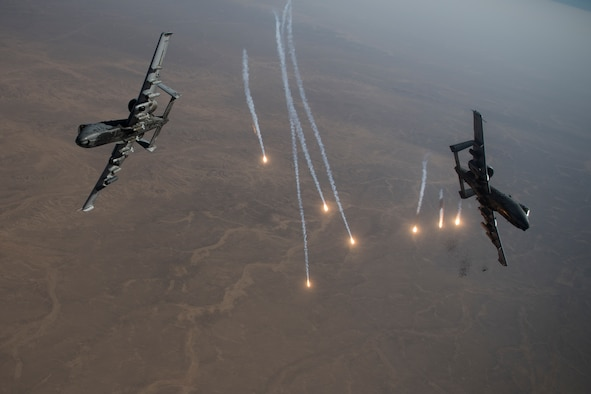 A-10 Thunderbolt II aircraft conduct a combat air patrol mission
