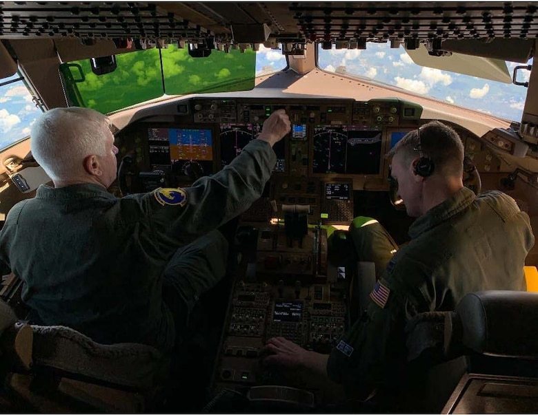 U.S. Air Force Lt. Gen. L. Scott Rice, left, director of the Air National Guard, and U.S. Air Force Capt. Lee