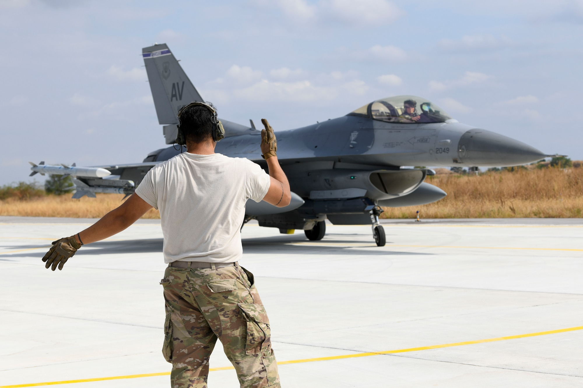 """U.S. Air Force Airmen and F-16 Fighting Falcons assigned to the 31st Fighter Wing executed a rapid deployment to conduct """"hot pit"""" refueling and participate in the bilateral training exercise with the Bulgarian Air Force."""