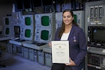 Lena Dagher, an engineer in the Naval Undersea Warfare Center Division Newport's Sensors and Sonar Systems Department, was recently awarded the Department of the Navy Meritorious Civilian Service Award for meritorious contributions that are of high value or benefit to the Navy.
