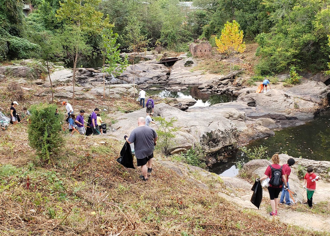 DSCR employees help clean up along James River