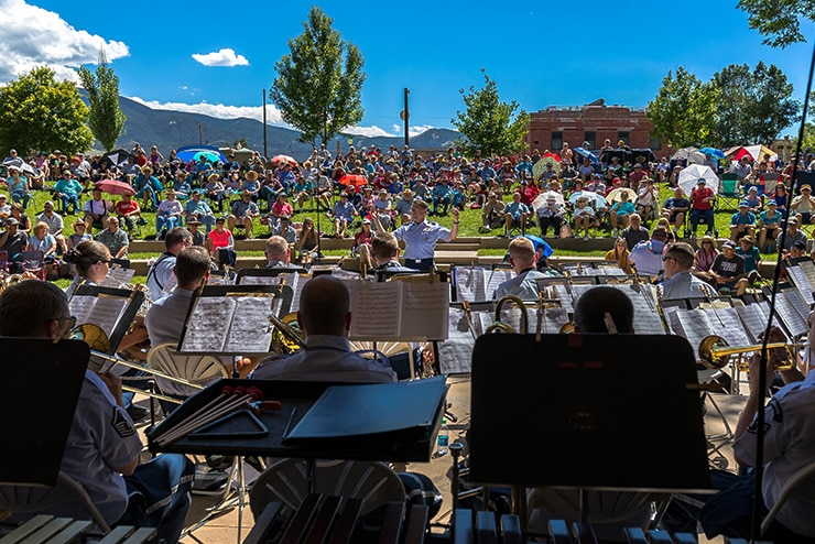 The United States Academy Band performed for enthusiastic audiences across Colorado on its July summer tour in 2018 including this crowd in Salida. (U.S. Air Force Photo/SSgt. Christopher Frierdich)