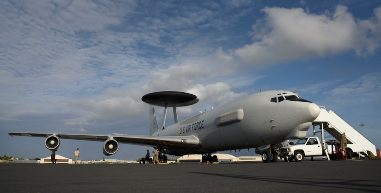 A U.S. Air Force E-3 Sentry from 960th Airborne Air Control Squadron, Tinker Air Force Base, Oklahoma, sits on the flightline during the first Airborne Warning and Control System World Tour at Joint Base Pearl Harbor-Hickam, Hawaii, Sept. 17, 2019. U.S. Air Combat Command plans to have more world tours in the future with the support of Air Mobility Command and allied partners to expand combat airlift capabilities and global reach. (U.S. Air Force photo by Senior Airman Jesenia Landaverde)