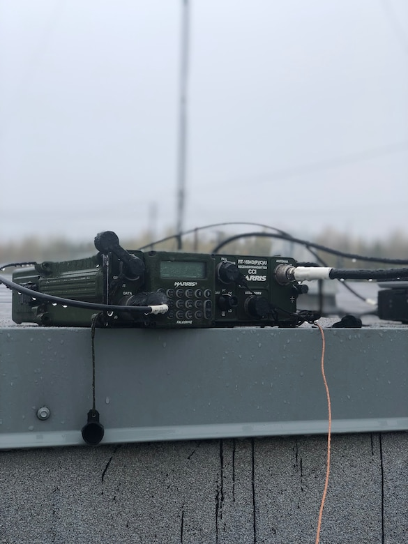 Explosive Ordnance Disposal Group One established high-frequency radio communications from Joint Base Elmendorf-Richardson in Anchorage, Alaska to Explosive Ordnance Disposal Mobile Unit One operating over 2,000 miles away in Adak, Alaska during Arctic Expeditionary Capabilities Exercise  (AECE) 2019 with high-frequency antennas (pictured). Explosive Ordnance Disposal Group One is testing a variety of communications to prepare for operating in austere environments supporting EOD forces in eliminating explosive threats. AECE is one in a series of U.S. Indo-Pacific Command exercises in 2019 that prepares joint forces to respond to crises in the Indo-Pacific.